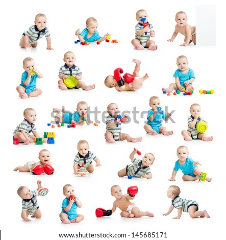 collection of active baby or kid boy isolated - stock photo