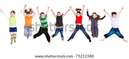 Collection of active junior kids jumping - stock photo