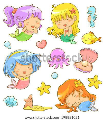collection of adorable mermaids and related icons - stock photo