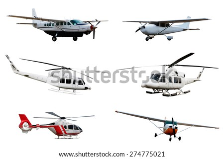 Collection of airplane and helicopter isolated over white background - stock photo