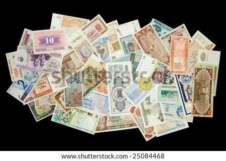 Collection of all over the world paper money - stock photo