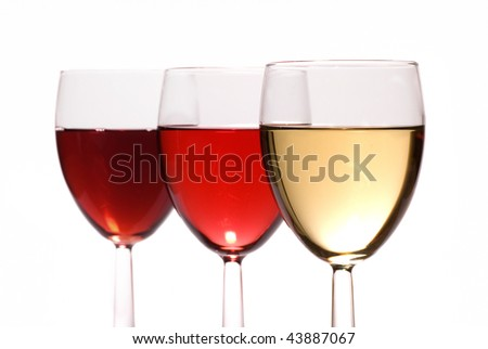 Collection of all three types of wine isolate on white