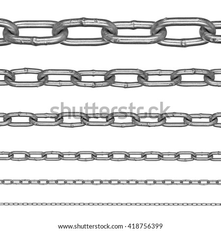 Collection of aluminum chains on an isolated white background. Each one is in full cameras resolution - stock photo