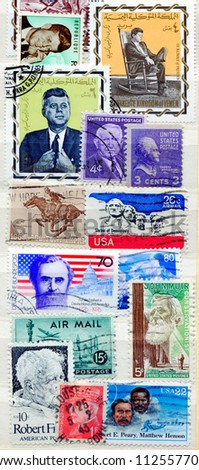 Collection of American postage stamps - stock photo