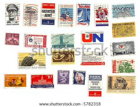 collection of American stamps - stock photo