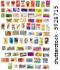 collection of 80 american vintage stamps - stock photo