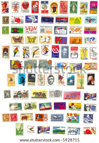 collection of 80 american vintage stamps