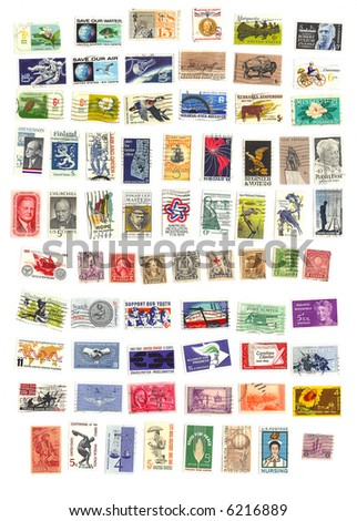 collection of 71 american vintage stamps - stock photo