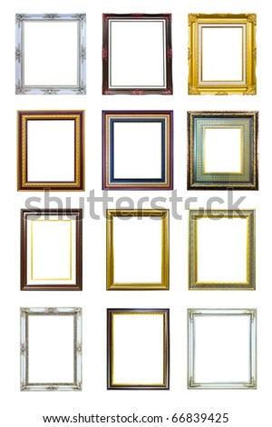 collection of ancient golden wood photo image frame isolated - stock photo