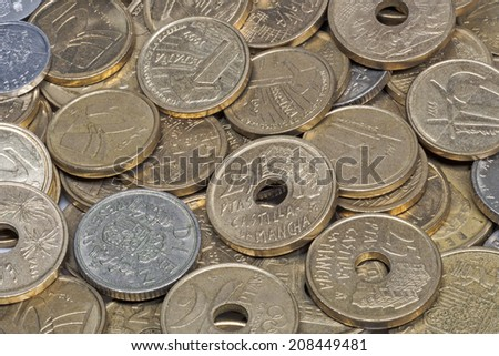 Collection of ancient Spanish peseta coins, different values - stock photo