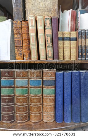 Collection of Antique Books at Book Shelf