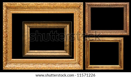 Collection of antique frames, add your own text or pictures. - stock photo