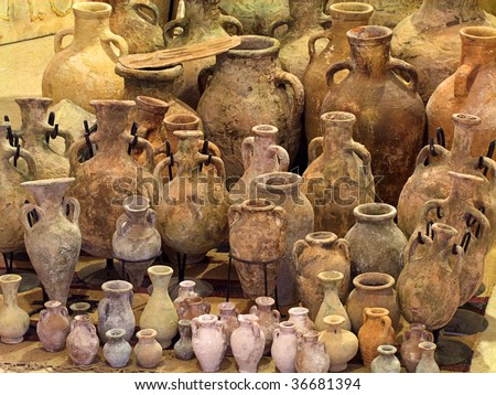 collection Of antique Jars - stock photo