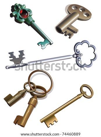Collection of antique skeleton keys, gradient, raster from vector illustration - stock photo