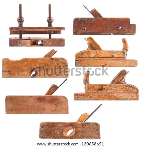 Collection of antique woodworking tools, isolated on white - stock photo