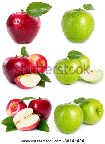 collection of apples isolated on white - stock photo