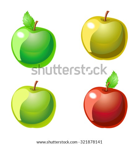 Collection of apples isolated on white. Illustration - stock photo