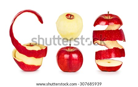 collection of apples with peel isolated on white background - stock photo