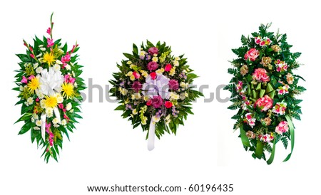 Collection of arranged flower wreaths - stock photo