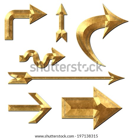 Collection of arrow illustrations in gold metal on white isolate background.