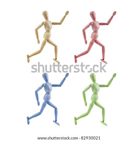 Collection of Artist Mannequin in various colors running, isolated wood human model