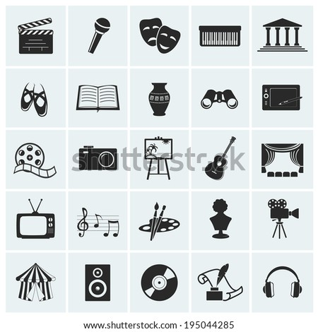 Collection of arts icons. Raster illustration.