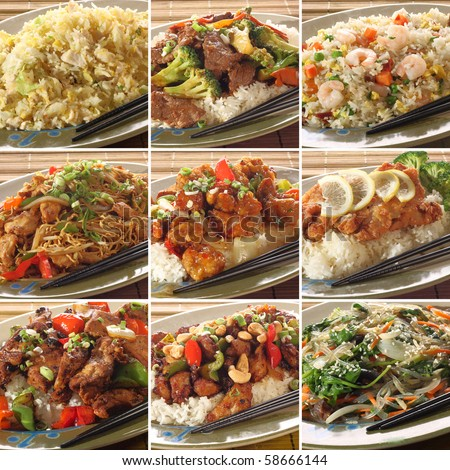Collection of asian food dishes. Including sweet and sour chicken, beef and broccoli, chicken chow mein, Kung Pao chicken and more. - stock photo