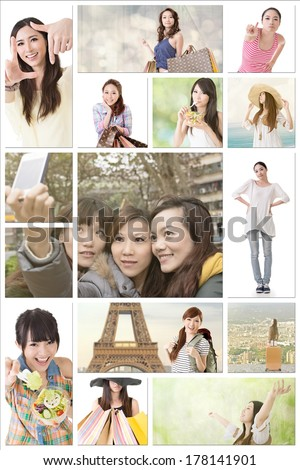 Collection of Asian women lifestyle images about friendship, travel, health care, shopping, studying, peace and hobby. - stock photo