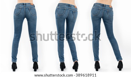 Collection of asian women's jeans in different poses isolated on white background. - stock photo