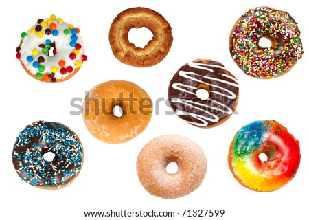 Collection of Assorted Colorful Donuts from Above Isolated on a White Background - stock photo