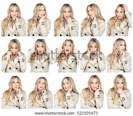 collection of attractive woman face making different expressions , full resolution single images available separately in my gallery - stock photo