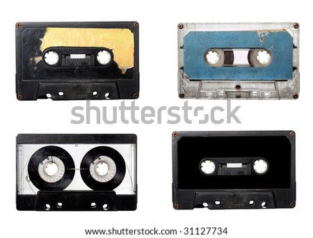 collection of audio tape cassette on white background. each one is in full cameras resolution