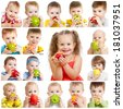 collection of babies and kids eating apples, isolated on white - stock photo