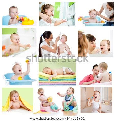 Collection of babies or kids at bath-time. Hygiene concept for little children. - stock photo