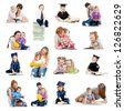 Collection of babies or kids reading a book. Concept of education from early childhood. - stock photo