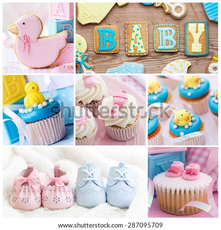 Collection of baby shower images - stock photo