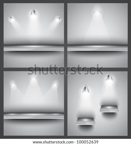 Collection of 4 backgrounds: shop front shelves with LED spotlights. Ideal to feature a product! - stock photo