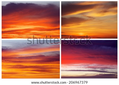 Collection of backgrounds with fiery sunset sky. Sky background - stock photo