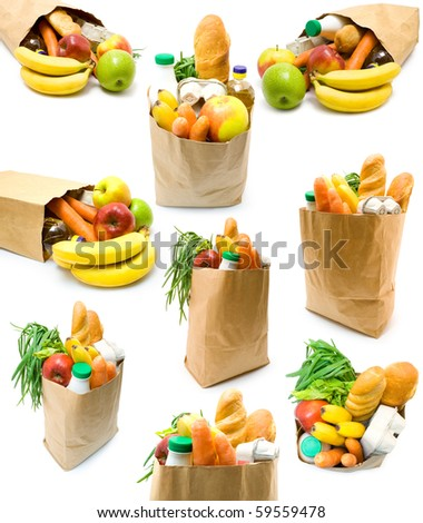 Collection of bags with food on white background - stock photo