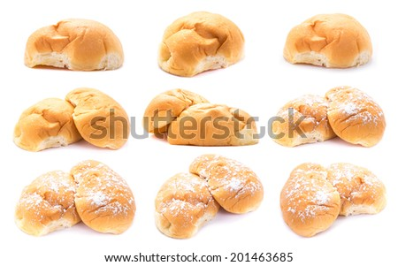 Collection of Baked breads isolated on white background - stock photo