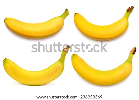 Collection of banana isolated on white background - stock photo