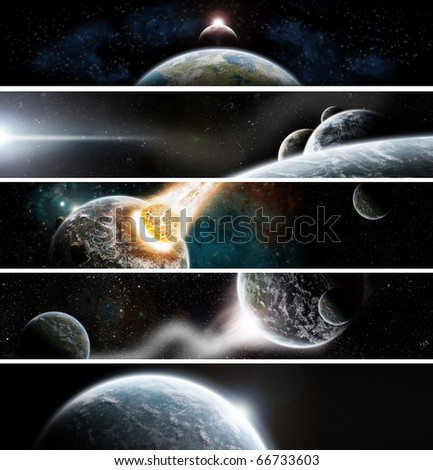 Collection of 5 banners for website : Apocalypse space theme - stock photo