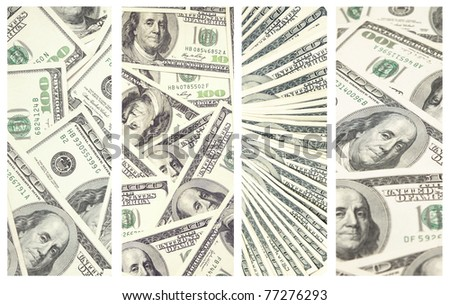 Collection of banners with dollar banknotes