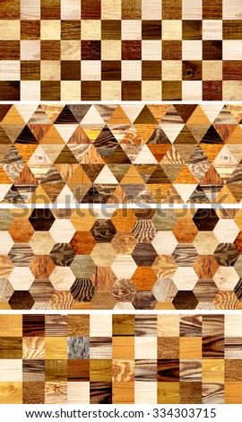 Collection of banners with wooden patterns of different colors - stock photo