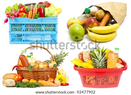 Collection of baskets and bag with food on white background - stock photo
