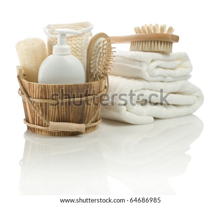 collection of  bathing accessories - stock photo