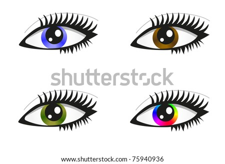 Collection of beautiful colored eyes. raster version - stock photo
