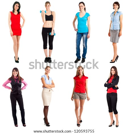 Collection of beautiful women's full length portraits - stock photo