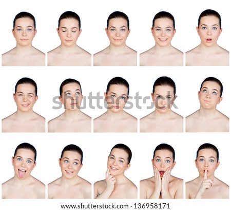 collection of beauty portraits of young woman with many different expressions - stock photo