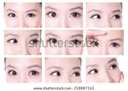 collection of beauty woman eyes with long eyelashes. asian beauty